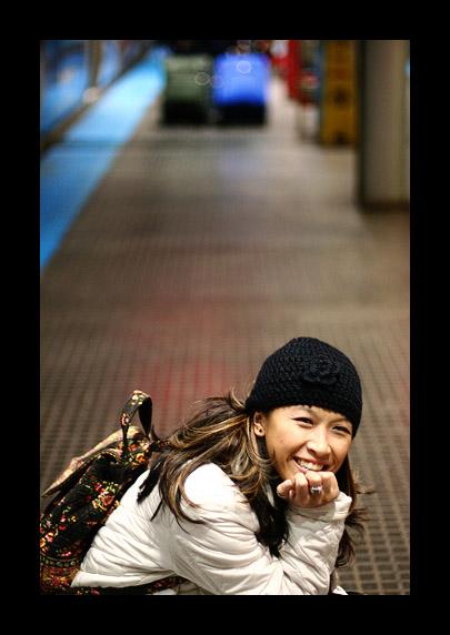 smiling at the subway